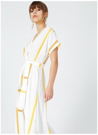 Fabrika Comfort Fabrika Comfort Kadın Sarı-Beyaz Midi Boy Elbise Sarı